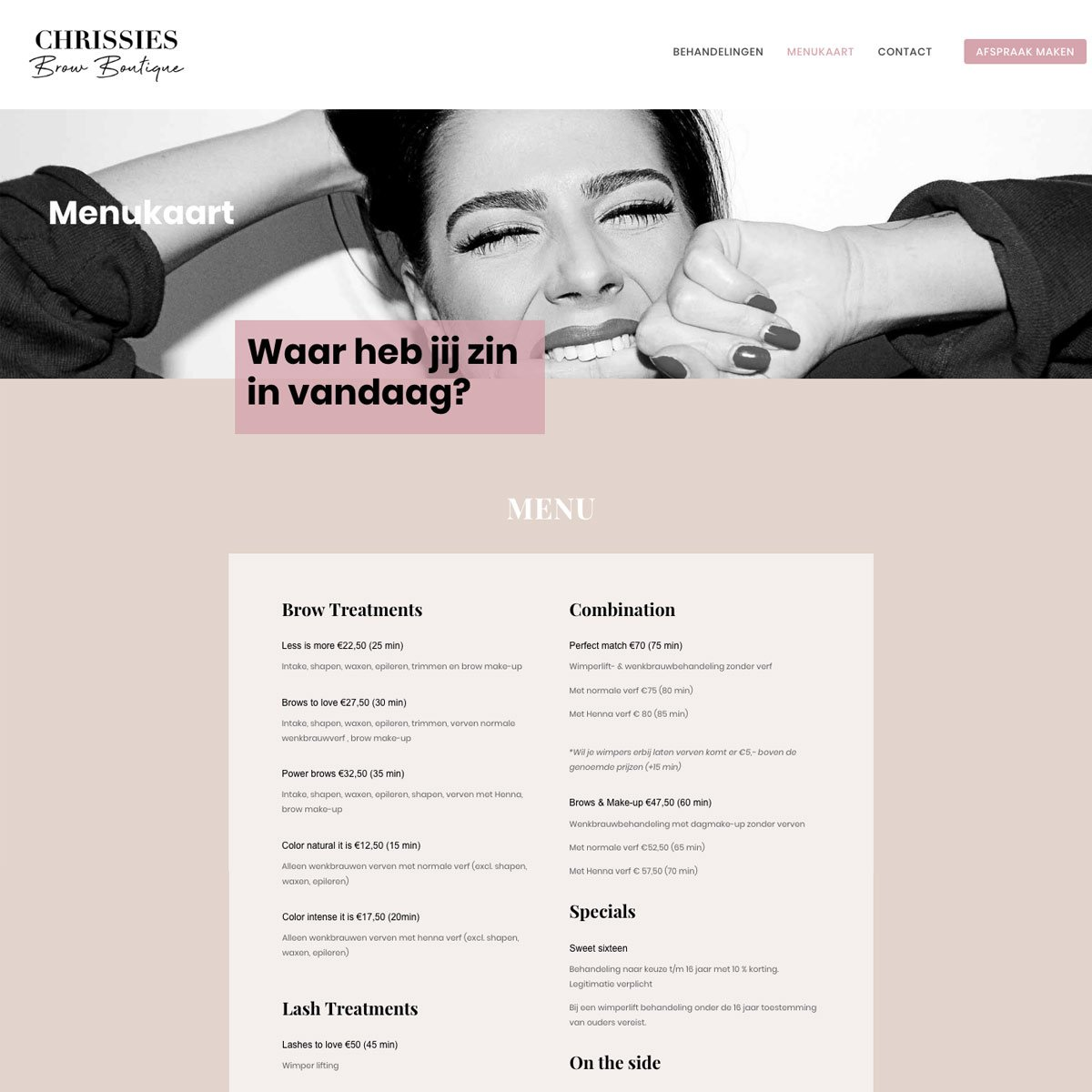 Chrissies Brow Boutique | Mrs. Website webdesign
